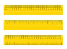 Creative vector illustration of realistic colorful rulers isolated on background. Art design measuring tool supplies. Abstract concept graphic element Stock Photos
