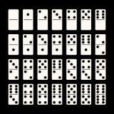 Creative vector illustration of realistic domino full set isolated on black background. Dominoes bones art design Vector Illustration