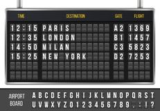 Creative vector illustration of realistic flip scoreboard, arrival airport board with alphabet, numbers isolated on transparent ba. Ckground. Art design. Analog Royalty Free Stock Photography