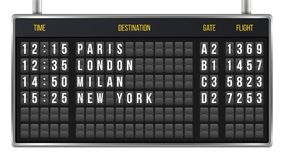 Creative vector illustration of realistic flip scoreboard, arrival airport board with alphabet, numbers isolated on transparent ba. Ckground. Art design. Analog Royalty Free Stock Photos