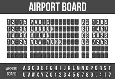 Creative vector illustration of realistic flip scoreboard, arrival airport board with alphabet, numbers isolated on transparent ba. Ckground. Art design. Analog Stock Images