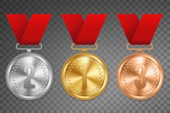 Creative vector illustration of realistic gold, silver and bronze medal set on colorful ribbon isolated on transparent background. Art design placement in Royalty Free Stock Image