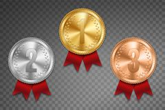 Creative vector illustration of realistic gold, silver and bronze medal set on colorful ribbon isolated on transparent background. Art design placement in vector illustration