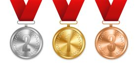 Creative vector illustration of realistic gold, silver and bronze medal set on colorful ribbon isolated on transparent background. Art design placement in Stock Photo