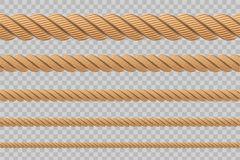 Creative vector illustration of realistic nautical twisted rope knots, loops for decoration and covering isolated on transparent b. Ackground. Retro vintage art royalty free illustration