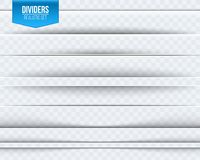 Creative vector illustration of realistic paper shadow dividers isolated on transparent background. Art design effect set. Abstrac. T concept graphic element Royalty Free Stock Images