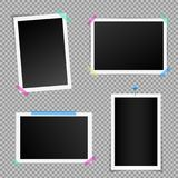Creative vector illustration set of square photo frame with shadows isolated on background. Retro art design. Realistic. Mockups. Color adhesive tapes, push Stock Images