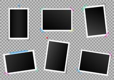 Creative vector illustration set of square photo frame with shadows isolated on background. Retro art design. Realistic. Mockups. Color adhesive tapes, push Royalty Free Stock Photos