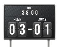 Creative vector illustration of soccer, football mechanical scoreboard isolated on transparent background. Art design retro vintag. E countdown with time, result Royalty Free Stock Photo
