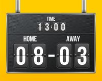 Creative vector illustration of soccer, football mechanical scoreboard isolated on transparent background. Art design. Retro vintage countdown with time, result Stock Images