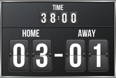 Creative vector illustration of soccer, football mechanical scoreboard isolated on transparent background. Art design. Retro vintage countdown with time, result Stock Photography