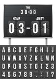 Creative vector illustration of soccer, football mechanical scoreboard isolated on transparent background. Art design. Retro vintage countdown with time, result Stock Photo