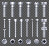Creative vector illustration of steel brass bolts, metal screws, iron nails, rivets, washers, nuts hardware side view stock illustration