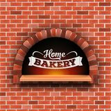 Creative vector illustration of stone brick, pizza firewood oven with fire isolated on transparent background. Art. Design home bakery. Abstract concept graphic royalty free illustration