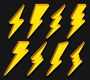 Creative vector illustration of thunder and bolt lighting flash icon set isolated on transparent background. Art design electric t. Hunderbolt. Abstract concept Royalty Free Stock Photo