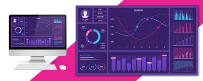 Creative vector illustration of web dashboard infographic template. Art design annual statistics graphs. Abstract. Concept graphic UI, UX. Information element royalty free illustration