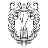 Creative vector illustration of woman legs in baroque frame. Stock Image