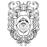 Creative vector illustration of woman mouth in baroque frame. Stock Photography