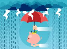 Man covering piggy bank from storm royalty free illustration