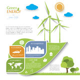 Creative vector Infographic design with wind turbines. Green energy concept.  Modern template Stock Image