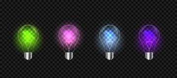 Creative vector of isolated light bulbs on background. Art design illustration new ideas with innovation, creativity. Abstract con. Cept graphic LED lightbulb Royalty Free Stock Photography