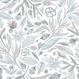 Creative Vector Pattern with Tropical Plants in Pastel Colors Royalty Free Stock Image