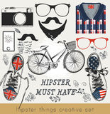 Creative vector set of hipster must haveHipster vector set of hi Royalty Free Stock Images