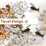 Creative  vector stylish floral design with banner, birds and or Royalty Free Stock Photo