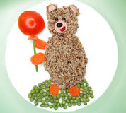 Creative vegetable food dinner bear form Royalty Free Stock Images