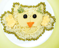 Creative vegetable food dinner bird form Royalty Free Stock Image