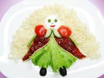 Creative vegetable food dinner form girl Stock Images