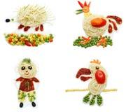 Creative vegetable food dinner hedgehog form Stock Image