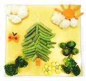 Creative vegetable food dinner tree form Royalty Free Stock Photo