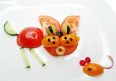Creative vegetable food snack with tomato Stock Photo