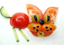 Creative vegetable food snack with tomato Stock Images