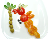 Creative vegetable food snack with tomato Royalty Free Stock Images