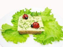 Creative vegetable sandwich with cheese Stock Photography