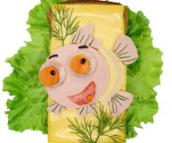 Creative vegetable sandwich with cheese ans sausage Stock Image