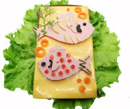 Creative vegetable sandwich with cheese ans sausage Stock Photo