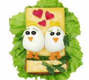 Creative vegetable sandwich with cheese ans sausage Royalty Free Stock Images