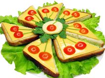 Creative vegetable sandwich with cheese Royalty Free Stock Images