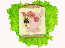 Creative vegetable sandwich with cheese and ham Royalty Free Stock Photos
