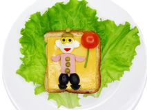 Creative vegetable sandwich with cheese and ham Royalty Free Stock Images