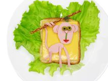 Creative vegetable sandwich with cheese and ham Stock Image