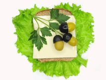 Creative vegetable sandwich with cheese and olives Royalty Free Stock Images