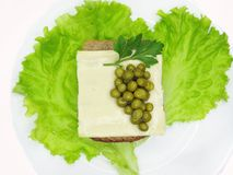 Creative vegetable sandwich with cheese and pea royalty free stock photography