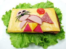 Creative vegetable sandwich with cheese and sausage Royalty Free Stock Photography