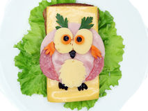 Creative vegetable sandwich with cheese and sausage Stock Photos
