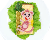 Creative vegetable sandwich with cheese and sausage Royalty Free Stock Photos