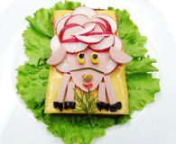 Creative vegetable sandwich with cheese and sausage Royalty Free Stock Images
